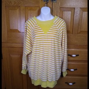 Vintage Saks Fifth Ave Yellow Striped Velour Top